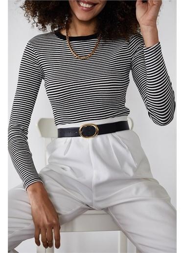 XHAN Siyah Çizgili Fitilli Bluz 1Kxk2-44737-02 Siyah